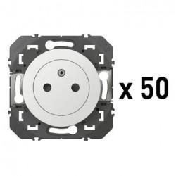 Lot de 50 prises de courant 2P+T Surface dooxie 16A blanc - 600635