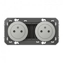 Double prise de courant 2P+T Surface dooxie 16A précâblées finition alu - 600432