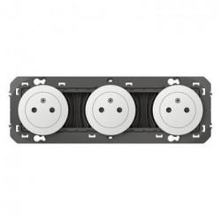 Triple prise de courant 2P+T Surface dooxie 16A précâblées finition blanc