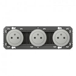 Triple prise de courant 2P+T Surface dooxie 16A précâblées finition alu - 600433