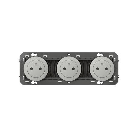 Triple prise de courant 2P+T Surface dooxie 16A précâblées finition alu