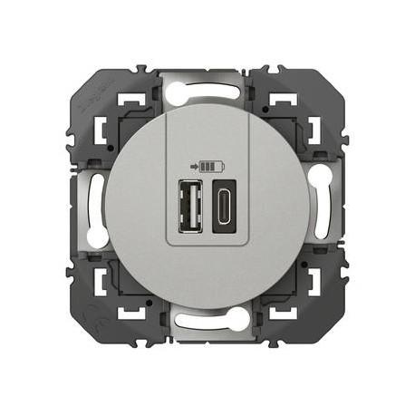 Double chargeur USB 1 TypeA + 1 TypeC dooxie finition alu