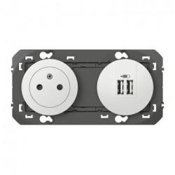 Prise de courant 2P+T Surface + module de charge 2 USB TypeA dooxie précâblés finition blanc