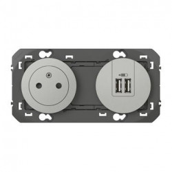 Prise de courant 2P+T Surface + module de charge 2 USB TypeA dooxie précâblés finition alu - 600442