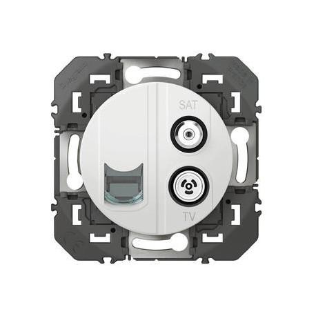 Prise TV-SAT + RJ45 cat6 STP compacte dooxie finition blanc