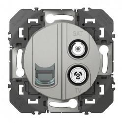 Prise TV-SAT + RJ45 cat6 STP compacte dooxie finition alu