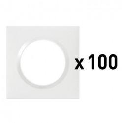 Lot de 100 plaques carrées dooxie 1 poste finition blanc - 600941