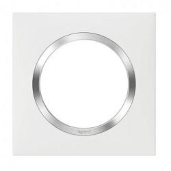 Plaque carrée dooxie 1 poste finition blanc avec bague effet chrome - 600841