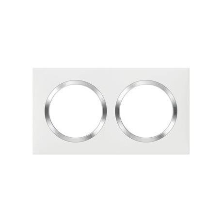 Plaque carrée dooxie 2 postes finition blanc avec bague effet chrome - 600842
