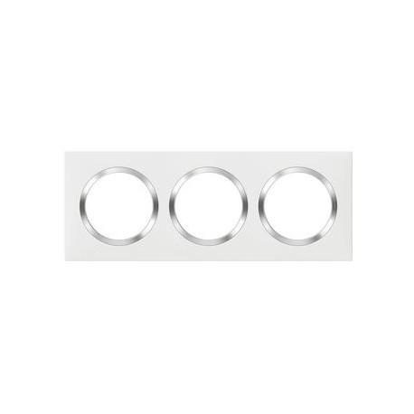 Plaque carrée dooxie 3 postes finition blanc avec bague effet chrome - 600843