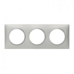 Plaque carrée dooxie 3 postes finition effet aluminium - 600853