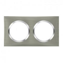 Plaque carrée dooxie 2 postes finition effet inox brossé - 600872