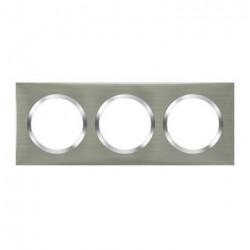 Plaque carrée dooxie 3 postes finition effet inox brossé - 600873