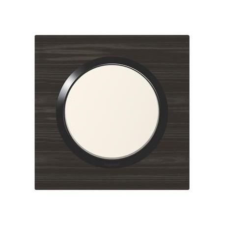 Plaque carrée dooxie 1 poste finition effet bois ébène - 600881