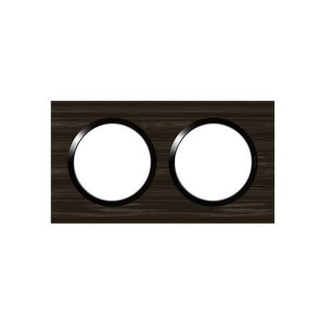 Plaque carrée dooxie 2 postes finition effet bois ébène - 600882