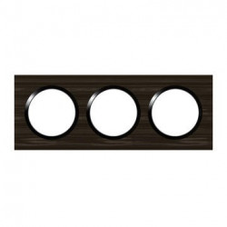 Plaque carrée dooxie 3 postes finition effet bois ébène - 600883