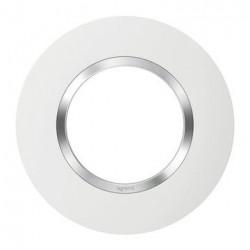 Plaque ronde dooxie 1 poste finition blanc avec bague effet chrome - 600973