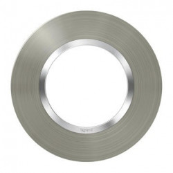 Plaque ronde dooxie 1 poste finition effet inox brossé - 600978