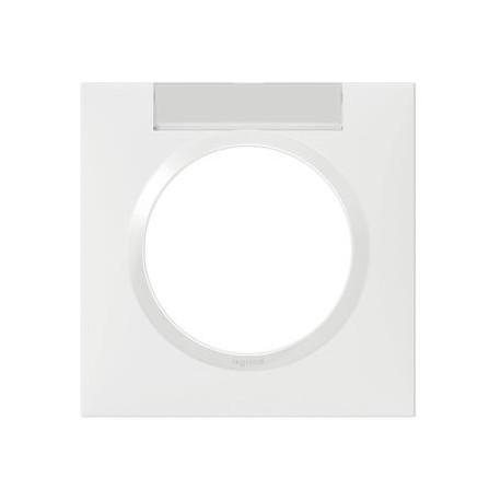 Plaque carrée dooxie 1 poste finition blanc avec porte-étiquette - 600942