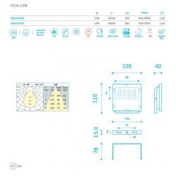 VEGA IP65 10W 800Lm 4000K WHITE - 30650104W