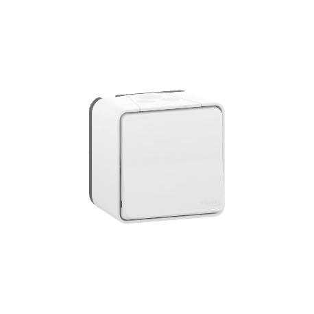 Mureva Styl - Bouton Poussoir - complet saillie - IP55 -IK08 connex auto - blanc - MUR39026