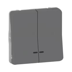 Mureva Styl - Dble bouton poussoir lumineux LED - composable - IP55 IK07 - gris - MUR35228