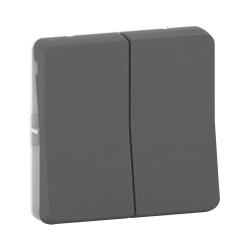 Mureva Styl - Double bouton poussoir - composable - IP55 - IK07 - gris - MUR35326