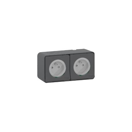 Mureva Styl - Double prise 2P+T précâblée horiz - saillie - IP55 - IK08 - gris - MUR36028