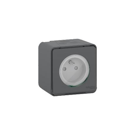 Mureva Styl - Prise de courant 2P+T à vis - saillie - IP55 - IK08 - gris - MUR36030