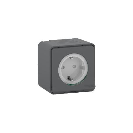 Mureva Styl - Prise de courant 2P+T schuko - saillie - IP55 - IK08 - gris - MUR36034