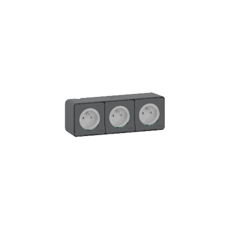 Mureva Styl - Triple PC 2P+T horiz. précâblée - saillie - IP55 - IK08 - gris - MUR36037