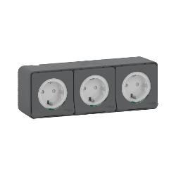 Mureva Styl - 3 PC 2P+T schuko horiz précâblées - saillie - IP55 - IK08 - gris - MUR36038