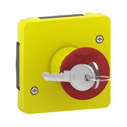 Mureva Styl - Arrêt d'urgence à clé - composable IP55 - IK08 - jaune - MUR35052