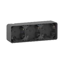 Mureva Styl - Boîte 3 postes horizontale - saillie - IP55 - IK08 - gris - MUR37713