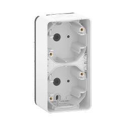 Mureva Styl - Boîte 2 postes verticale - saillie - IP55 - IK08 - blanc - MUR39912