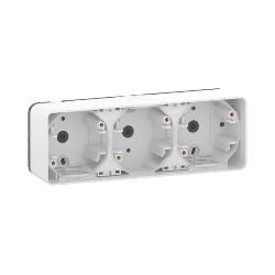Mureva Styl - Boîte 3 postes horizontale - saillie - IP55 - IK08 - blanc - MUR39913