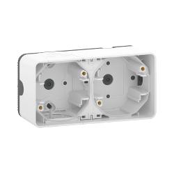Mureva Styl - Boîte 2 postes horizontale - saillie - IP55 - IK08 - blanc - MUR39914