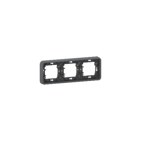 Mureva Styl - Cadre 3 postes horizontal - encastré - IP55 - IK08 - gris - MUR34109