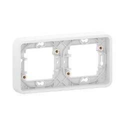 Mureva Styl - Cadre 2 postes horizontal - encastré - IP55 - IK08 - blanc - MUR39101