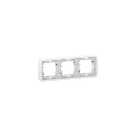 Mureva Styl - Cadre 3 postes horizontal - encastré - IP55 - IK08 - blanc - MUR39109