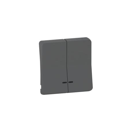 Mureva Styl - Enjoliveur 2 demi touche - IP55 - IK08 - gris - MUR34205