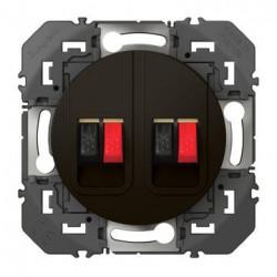 Prise haut-parleur double dooxie finition noir - emballage blister - 095289
