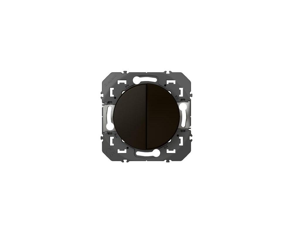 Poussoir double dooxie 6A 250V~ finition noir - emballage blister - 095265