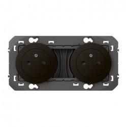 Double prise de courant 2P+T Surface dooxie 16A précâblées finition noir - emballage blister - 095278