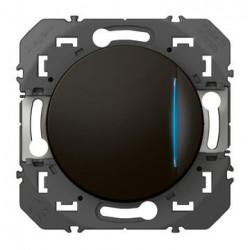 Poussoir simple avec voyant lumineux dooxie 6A 250V~ finition noir - emballage blister - 095267