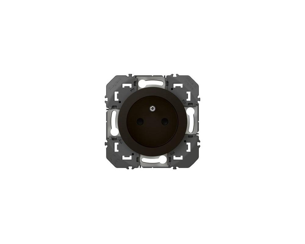 Prise de courant 2P+T à puits dooxie 16A finition noir - emballage blister - 095276