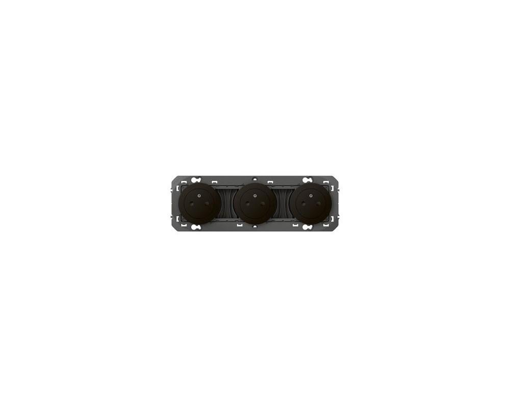 Triple prise de courant 2P+T Surface dooxie 16A précâblées finition noir - emballage blister - 095279