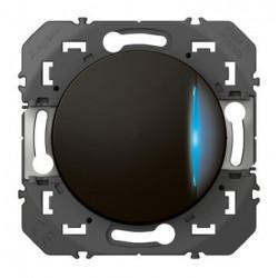 Interrupteur ou va-et-vient avec voyant témoin dooxie 10AX 250V~ finition noir - emballage blister - 095263