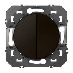 Interrupteur ou va-et-vient 10AX + bouton poussoir 6A dooxie finition noir - emballage blister - 095266