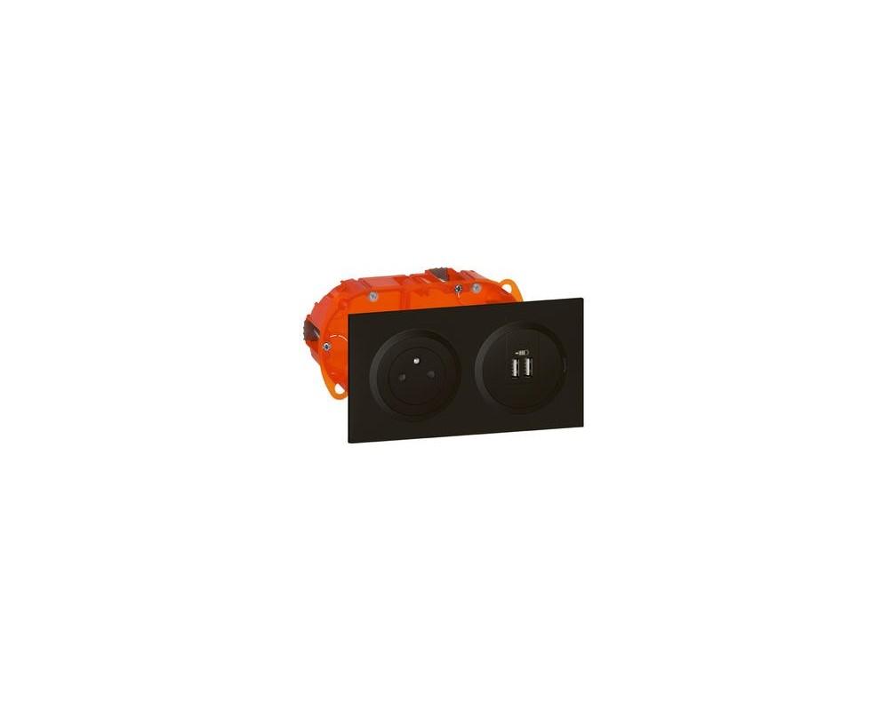 Kit prise de courant Surface + module de charge 2 USB TypeA dooxie 2,4A précâblés finition noir - 300409